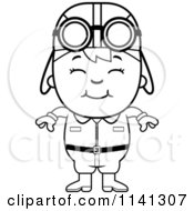 Cartoon Clipart Of A Black And White Happy Aviator Pilot Boy Vector Outlined Coloring Page