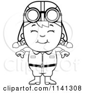 Cartoon Clipart Of A Black And White Happy Aviator Pilot Girl Vector Outlined Coloring Page