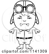 Cartoon Clipart Of A Black And White Angry Aviator Pilot Boy Vector Outlined Coloring Page