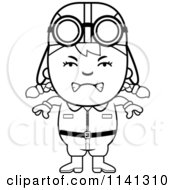 Cartoon Clipart Of A Black And White Angry Aviator Pilot Girl Vector Outlined Coloring Page