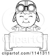 Cartoon Clipart Of A Black And White Happy Aviator Pilot Boy Over A Sign Vector Outlined Coloring Page