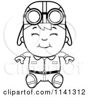 Cartoon Clipart Of A Black And White Happy Aviator Pilot Boy Sitting Vector Outlined Coloring Page