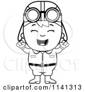 Cartoon Clipart Of A Black And White Happy Aviator Pilot Boy Cheering Vector Outlined Coloring Page