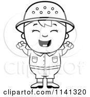 Cartoon Clipart Of A Black And White Happy Safari Boy Cheering Vector Outlined Coloring Page