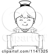 Cartoon Clipart Of A Black And White Happy Sailor Boy Over A Banner Sign Vector Outlined Coloring Page