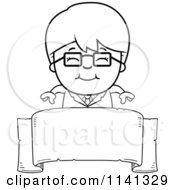Cartoon Clipart Of A Black And White Happy Scientist Boy Over A Banner Vector Outlined Coloring Page