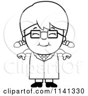 Cartoon Clipart Of A Black And White Happy Scientist Girl Vector Outlined Coloring Page