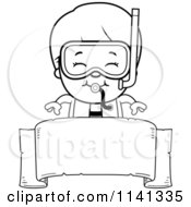 Cartoon Clipart Of A Black And White Happy Scuba Boy Over A Blank Banner Vector Outlined Coloring Page