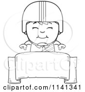 Cartoon Clipart Of A Black And White Happy Daredevil Stunt Boy Over A Banner Sign Vector Outlined Coloring Page