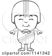 Cartoon Clipart Of A Black And White Happy Daredevil Stunt Boy Vector Outlined Coloring Page