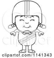 Cartoon Clipart Of A Black And White Happy Daredevil Stunt Girl Vector Outlined Coloring Page