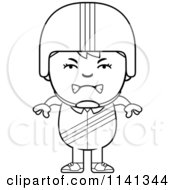 Cartoon Clipart Of A Black And White Angry Daredevil Stunt Boy Vector Outlined Coloring Page
