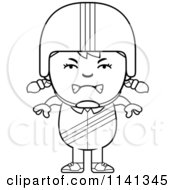 Cartoon Clipart Of A Black And White Angry Daredevil Stunt Girl Vector Outlined Coloring Page