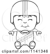 Cartoon Clipart Of A Black And White Happy Daredevil Stunt Boy Sitting Vector Outlined Coloring Page