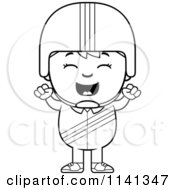 Cartoon Clipart Of A Black And White Happy Daredevil Stunt Boy Cheering Vector Outlined Coloring Page