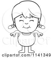 Cartoon Clipart Of A Black And White Happy Girl In A Bathing Suit Vector Outlined Coloring Page