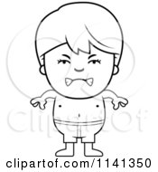 Cartoon Clipart Of A Black And White Angry Boy In Swim Trunks Vector Outlined Coloring Page