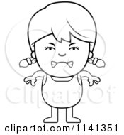 Cartoon Clipart Of A Black And White Angry Girl In A Bathing Suit Vector Outlined Coloring Page