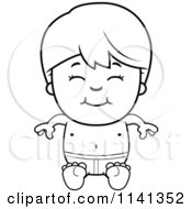 Cartoon Clipart Of A Black And White Happy Boy Sitting In Swim Trunks Vector Outlined Coloring Page