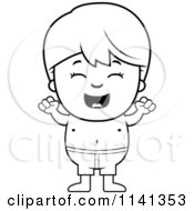 Cartoon Clipart Of A Black And White Cheering Boy In Swim Trunks Vector Outlined Coloring Page