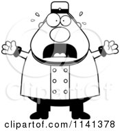 Cartoon Clipart Of A Black And White Frightened Bellhop Worker Vector Outlined Coloring Page
