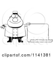Cartoon Clipart Of A Black And White Happy Bellhop Worker Holding A Sign Vector Outlined Coloring Page
