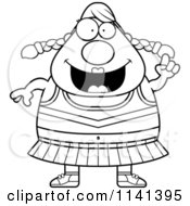 Cartoon Clipart Of A Black And White Chubby Cheerleader With An Idea Vector Outlined Coloring Page