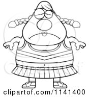 Cartoon Clipart Of A Black And White Chubby Depressed Cheerleader Vector Outlined Coloring Page