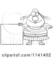 Cartoon Clipart Of A Black And White Chubby Cheerleader With A Sign Vector Outlined Coloring Page