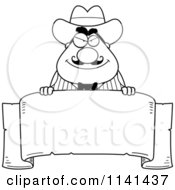 Cartoon Clipart Of A Black And White Happy Chubby Male Wild West Cowboy With A Banner Sign Vector Outlined Coloring Page