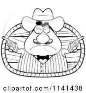 Cartoon Clipart Of A Black And White Chubby Male Wild West Cowboy Holding Guns Vector Outlined Coloring Page