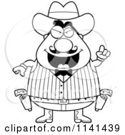 Cartoon Clipart Of A Black And White Chubby Male Wild West Cowboy With An Idea Vector Outlined Coloring Page