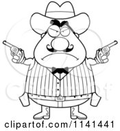 Cartoon Clipart Of A Black And White Angry Chubby Male Wild West Cowboy Holding Pistols Vector Outlined Coloring Page