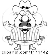 Cartoon Clipart Of A Black And White Scared Chubby Male Wild West Cowboy Vector Outlined Coloring Page