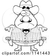 Cartoon Clipart Of A Black And White Depressed Chubby Male Wild West Cowboy Vector Outlined Coloring Page