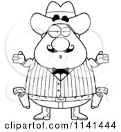 Cartoon Clipart Of A Black And White Careless Shrugging Chubby Male Wild West Cowboy Vector Outlined Coloring Page