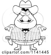 Cartoon Clipart Of A Black And White Grinning Chubby Male Wild West Cowboy Vector Outlined Coloring Page