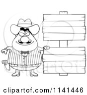 Cartoon Clipart Of A Black And White Happy Chubby Male Wild West Cowboy With A Wooden Sign Vector Outlined Coloring Page