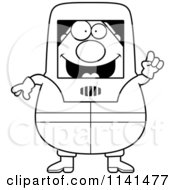 Cartoon Clipart Of A Black And White Hazmat Hazardous Materials Removal Worker With An Idea Vector Outlined Coloring Page