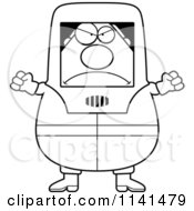Cartoon Clipart Of A Black And White Angry Hazmat Hazardous Materials Removal Worker Vector Outlined Coloring Page