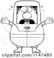 Cartoon Clipart Of A Black And White Panicking Hazmat Hazardous Materials Removal Worker Vector Outlined Coloring Page