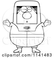 Cartoon Clipart Of A Black And White Careless Shrugging Hazmat Hazardous Materials Removal Worker Vector Outlined Coloring Page