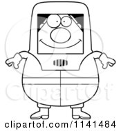 Cartoon Clipart Of A Black And White Hazmat Hazardous Materials Removal Worker Vector Outlined Coloring Page