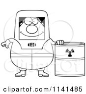 Cartoon Clipart Of A Black And White Hazmat Hazardous Materials Removal Worker With A Drum Vector Outlined Coloring Page