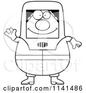 Cartoon Clipart Of A Black And White Waving Hazmat Hazardous Materials Removal Worker Vector Outlined Coloring Page