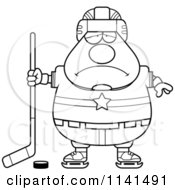 Cartoon Clipart Of A Black And White Depressed Chubby Hockey Player Man Vector Outlined Coloring Page by Cory Thoman