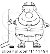 Cartoon Clipart Of A Black And White Chubby Hockey Player Man Vector Outlined Coloring Page by Cory Thoman