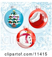 Three Christmas Bauble Ornaments With A Snowflake Background