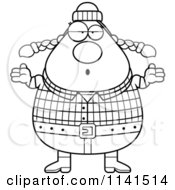 Cartoon Clipart Of A Black And White Careless Shrugging Chubby Female Lumberjack Vector Outlined Coloring Page