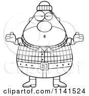 Cartoon Clipart Of A Black And White Careless Shrugging Chubby Male Lumberjack Vector Outlined Coloring Page